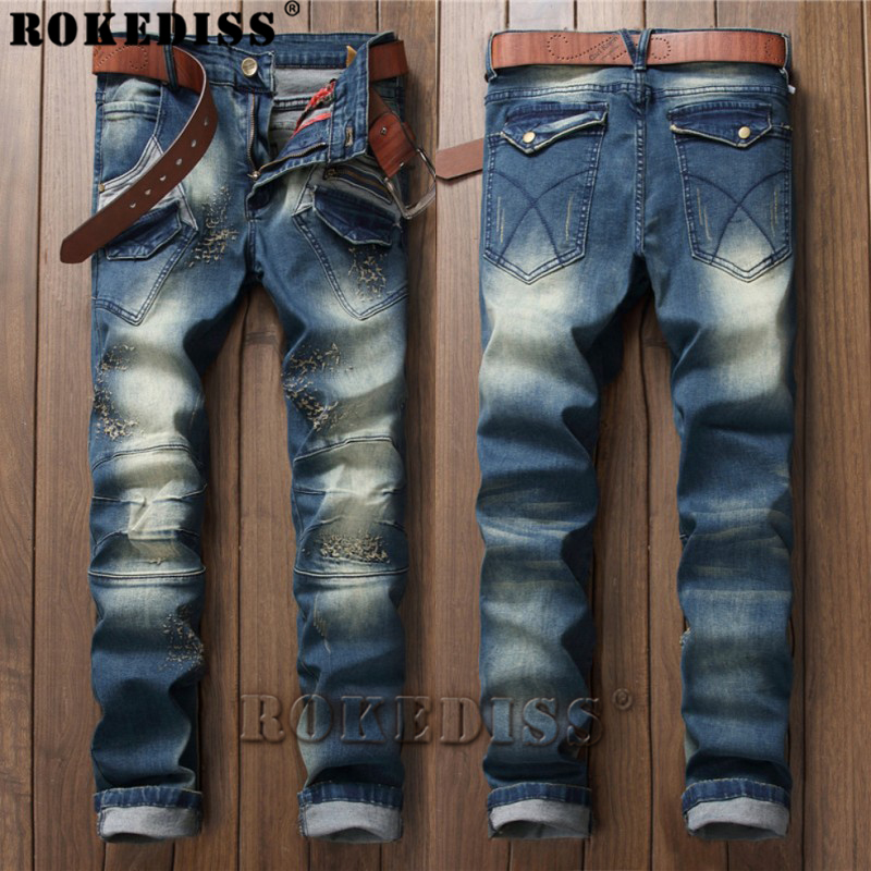 distressed jeans 2017 Spring and Autumn New products personality Splicing zipper Slim trousers locomotive Retro Tights Men C172