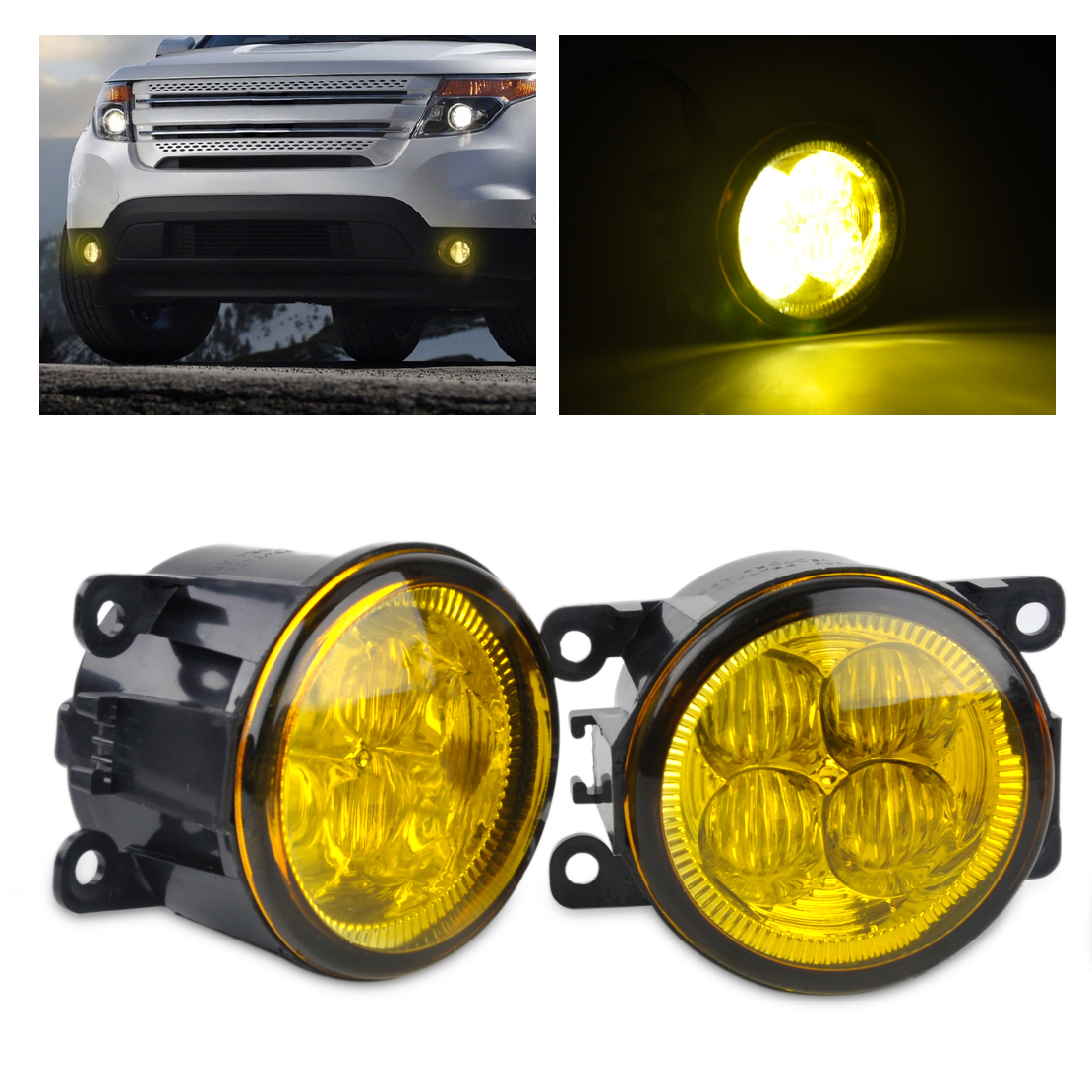 beler 2pcs Highlighted LED Fog Light Lamp with Yellow Lens AC2592111 3225-2050B for Ford Focus Acura Honda Subaru Nissan Suzuki beler fog light lamp h11 female adapter wiring harness sockets wire connector for ford focus fiesta acura nissan honda subaru