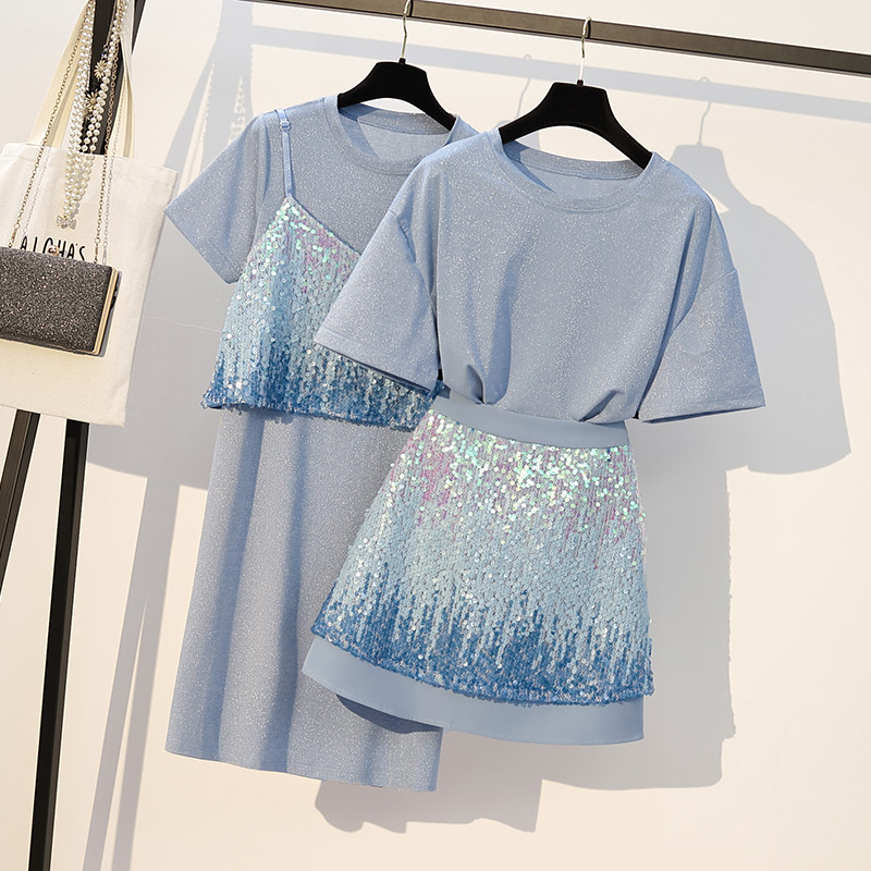 Plus Size Women Clothing 2 Piece Set Sequined T-Shirt And Sequined Skirt Set For Women Spaghetti Straps Tank And Skirt Suit