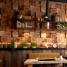 3D bump stereo retro wallpaper antique imitation wood grain peg barber shop personality restaurant  background wall paper