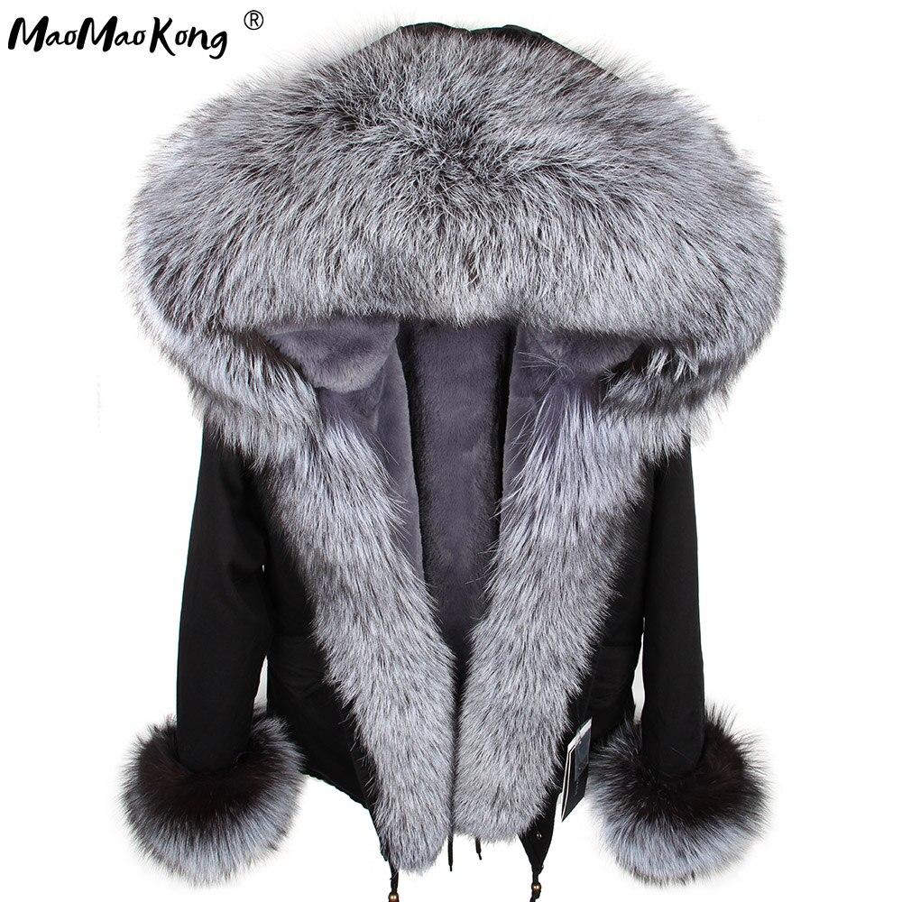 Winter Real Raccoon Fur Collar Parkas Faux Fur Lined Short Jacket Coat DHL Free Shipping