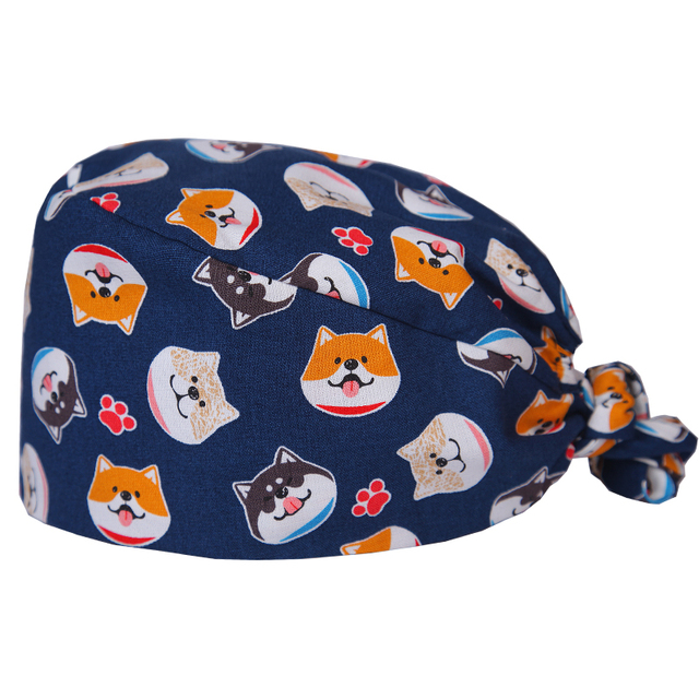 8822e7dc642 Husky Print Women Doctors Surgical Scrub Hats Medical OR Skull Scrub Caps  Surgical Surgeon s Surgery Hat in Deep Navy Color