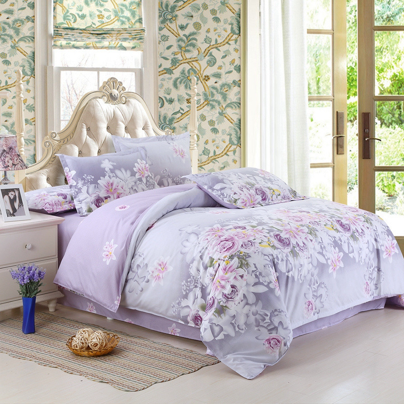 Bedding Set Purple Flowers Bed Sheet Reactive Printing Bed Linen Cotton Bedding Comforter Cover Twin/Full /Queen Size 22 1