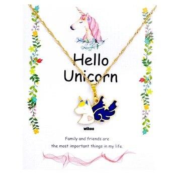 Unicorn Necklace Card Pendant Wihoo Horse Women Pendant Children Girls Cute Fashion Jewelry Gift Kids Enamel Party Gold 3