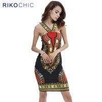 Rikochic 2017新しい夏ヴィンテージアフリカdashikiドレス女性セクシーなミニチューブボディコンドレスビーチ摩耗vestidos c004