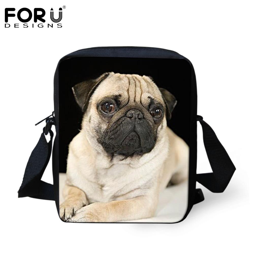 FORUDESIGNS Women Messenger Bags Puppy Pug Dog Printing Black Ladies Bolsos Mujer Cross Body Bags Small Handbag Shoulder Bag Hot
