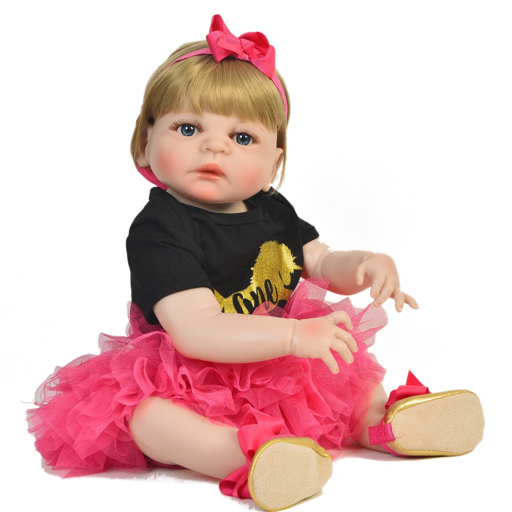 23 Full Silicone Reborn Baby Doll Girl Realistic Princess Toddler Doll Reborn Boneca Bathe Body DIY