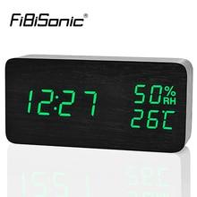 FiBiSonic деревянный светодиодный Будильник, Despertador Температура Влажность электронные настольные цифровые настольные часы
