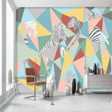 Personality Zebra color block living room TV background professional production murals wholesale wallpaper custom photo