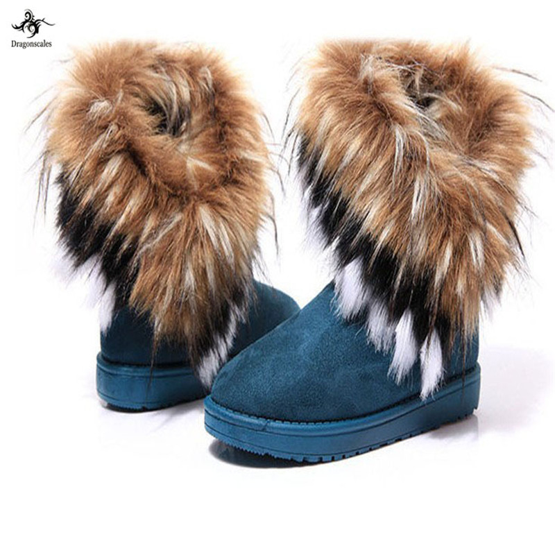 dragonscales Suede Women Snow Boots Sewing Slip-On Mid Calf Winter Boots Female Faux Fur Warm Flat Shoes  Edging Footwear
