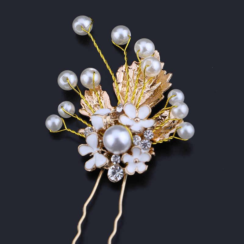 3 CHIẾC Tóc Cao Cấp Chân Cho Nữ Vàng Lá Ngọc Trai Kẹp Tóc Hoa Cưới Cô Dâu Tiaras Thái Tóc Phụ Kiện Trang Sức