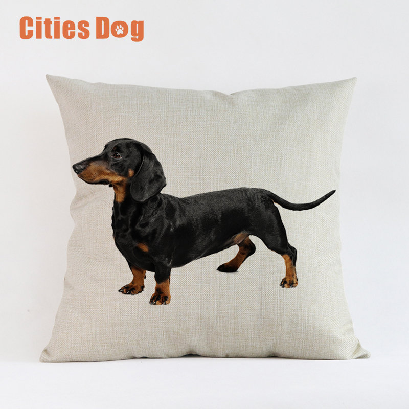 Animal Dog Cushion Cover Throw Pillow Cove Dachshund Dogs Cushions Christmas Gift Pet Home Decorative Pillowcase Cojines