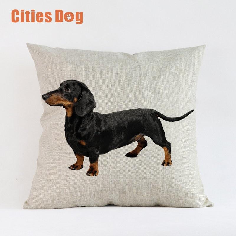 Animal Dog Cushion Cover Throw Pillow Cove Dachshund Dogs Cushions Christmas Gift Pet Home Decorative Pillowcase Cojines