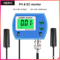 Yieryi Professional 2 in 1 Tester pH Meter for Aquarium Multi parameter Water Quality Monitor Online pH / EC Meter Acidometer
