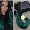 Полный Блеск 1B Зеленый Клип в Наращивание Волос Бразильский Remy Человеческих Волос Высокого Качества Клип Расширения Ombre Цвет Быстрая Доставка Груза