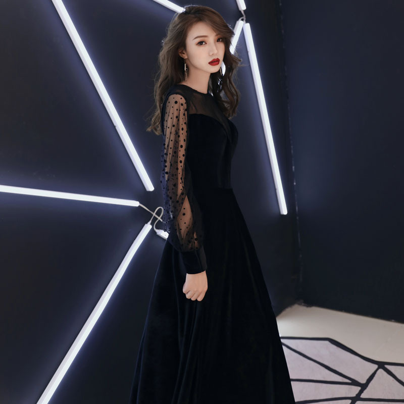 O-neck   Evening     Dress   Black Dot Print Long A-line new Party Gowns Simple Full sleeves Floor length zipper Formal Prom   Dress   E331