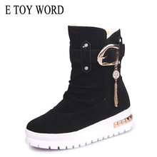 Buy E TOY WORD Women winter boots Warm Shoes Mid-calf flat Women Snow Boots Winter Platform Boots Female Plush Insole zapatos mujer directly from merchant!