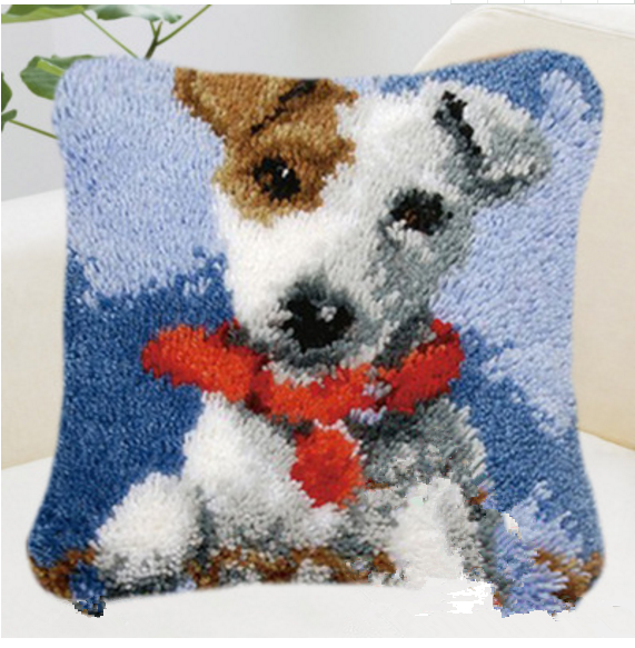 Rug Dogs Embroidery Designs: 5D DIY Coarse Wool Carpet Embroidered Dog Picture Cross