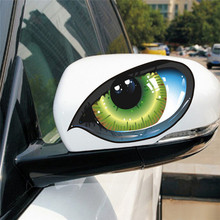 1 Pair Cool 3D Mysterious Cat Eyes Car Sticker Green Evil Window Mirror Decal