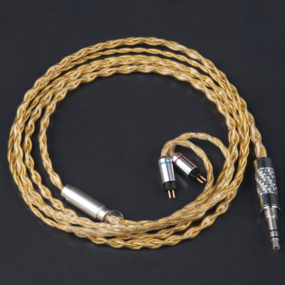 Wooeasy 4 Core Upgraded Gold Cable 2.5/3.5mm Pink Balanced Cable With MMCX/2pin Connector For LZ A3 A4 DQSM YINYOO