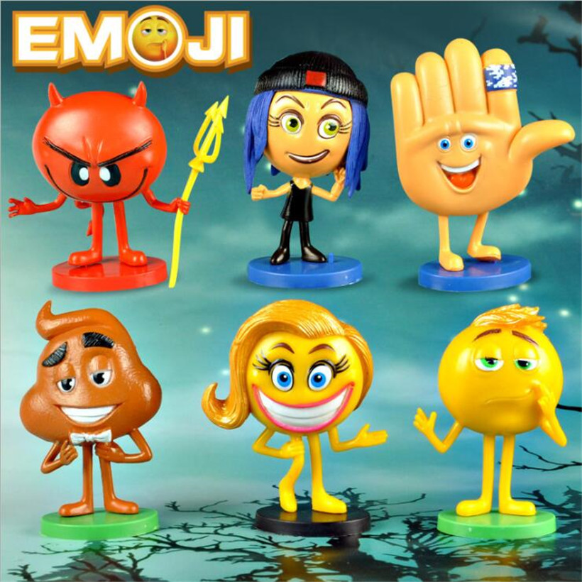 Cute 6 Pcs/Set 4*8 CM Emoji Movie Cartoon Resin Anime Action Figure Collectible Doll Model Juguetes Kids Toys Gifts