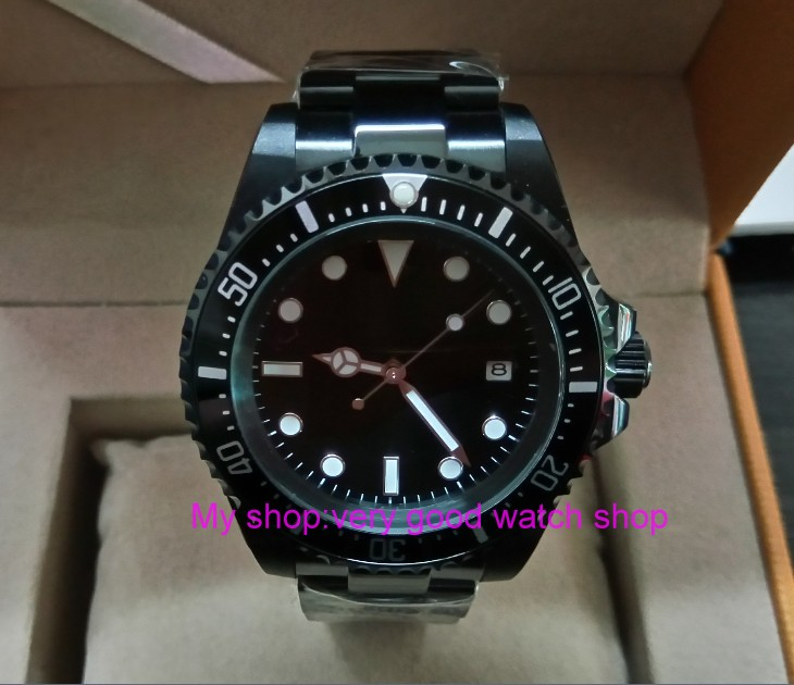 42mm Parnis Black dial black Bezel PVD watchcase Automatic Self-Wind Mechanical watches green Luminous Men's Watch 265a цена и фото