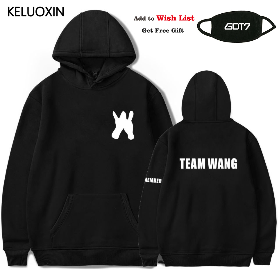 KELUOXIN Kpop GOT7 Hoodies Women Men Jackson The Same Team Wang Letter Print Sweatshirt Fans Pullover Tracksuit Moletom Feminino