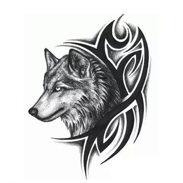 Nueva transferencia de agua caliente tatuaje falso resistente al agua tatuaje temporal pegatina hombres mujeres Lobo tatuaje flash tatuaje