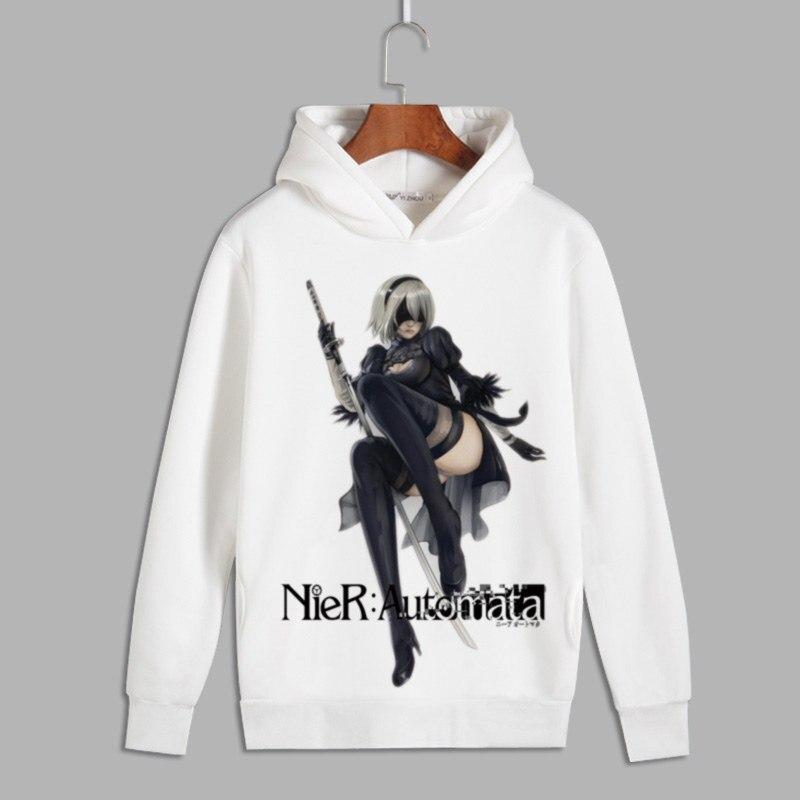 NieR Automata 2b Cosplay Print Pullover hooded sweatshirts Unisex YoRHa 9S Fleece Hoodies for Autumn