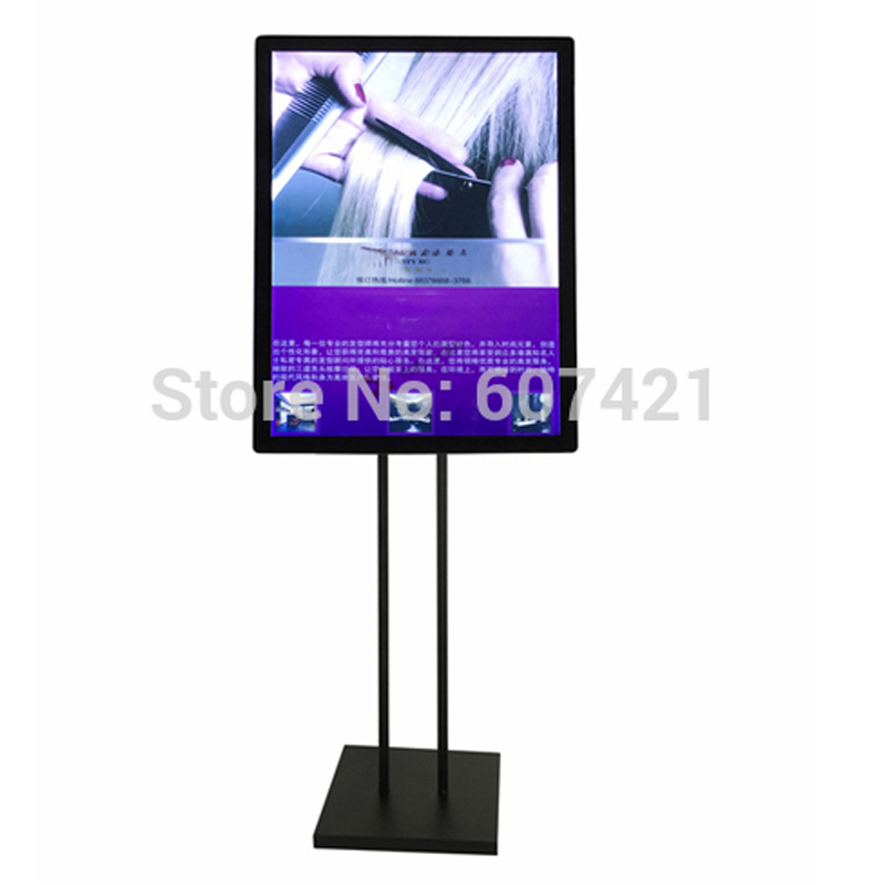 40x60cm Double Pole Floorstanding Black Metal Advertising Led Light Pockets with Magnetic Front Panel