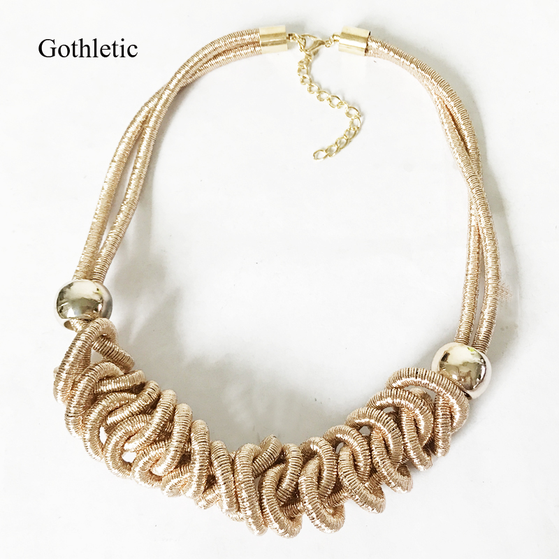 Gothletic New Mesh Chain Woven Statement Collar Neklace for Women 2018 Fashion Jewelry