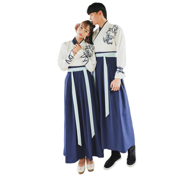 Blue Embroidery Hanfu Festival Outfit Classical Dance Costume Neutral Rave Performance Clothes Folk Stage Fairy Dress DF1169
