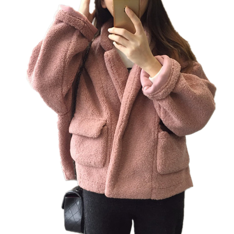 Women Autumn/Winter Lambswool Loose Winter Coat Covered Button Fashion Stand Collar Parka Warm Large Size Women Jacket TT3261 winter