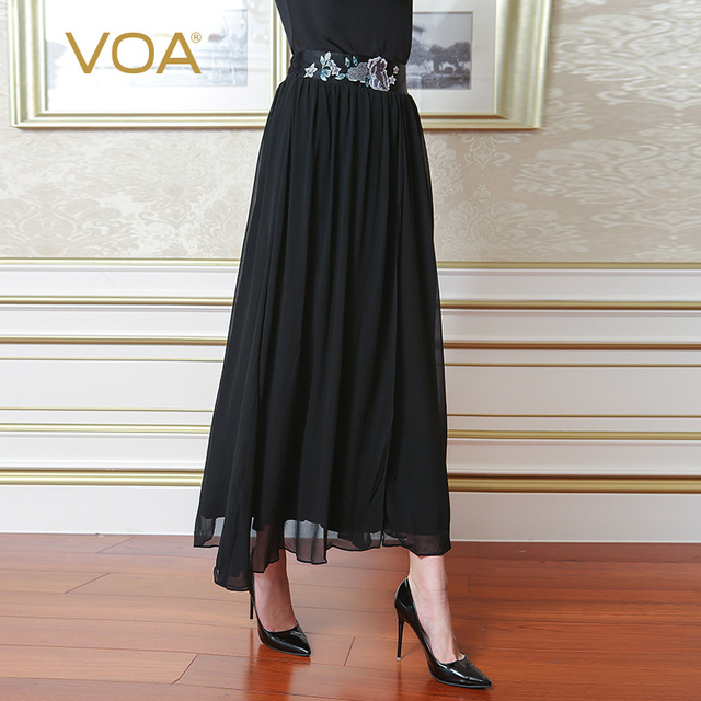 4d1602391 VOA Silk Knit Georgette Embroidery Long Skirt Women Large Size Pleated Skirts  Black Casual Chinese Style