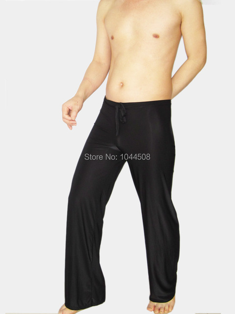 Casual trousers male home  panties  trousers ultra-thin transparent silky viscose sexy underwear