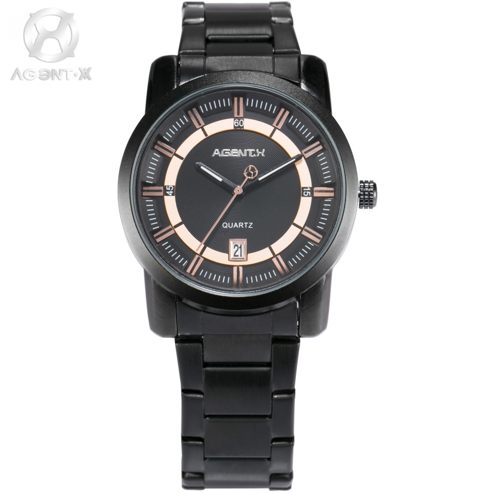 Mens Watches Agent Stainless Steel Strap Relojes Analog Sport Clock Casual Dress Men Quartz Military Watch Wristwatch / AGX128 kevin casual mens watches male stainless steel watch band watch men analog quartz wristwatch paris eiffel tower women clock time