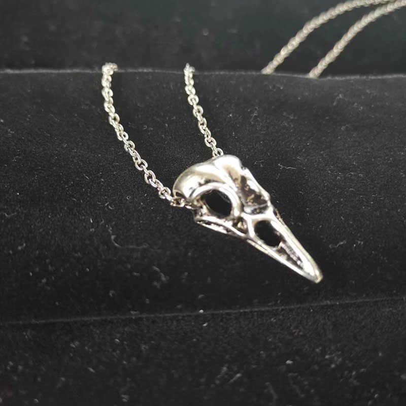 Ретро Птица череп голова ожерелье для мужчин женщин Bijoux Винтаж Серебряный Ворон тотемная подвеска талисманы чокер модное ювелирное изделие подарок