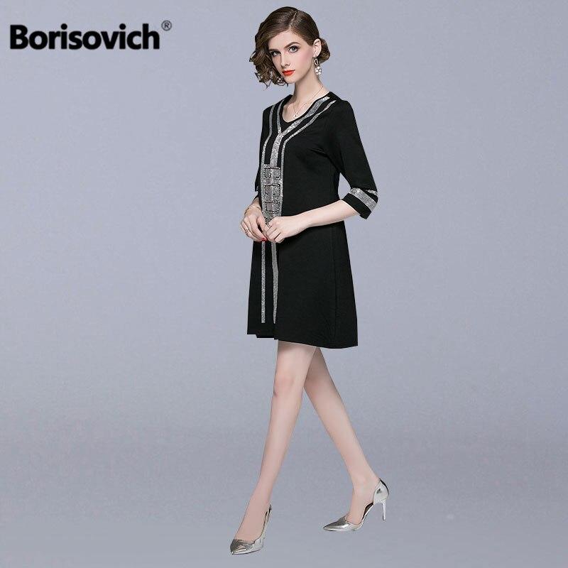 Borisovich Women Loose Casual Dress New Brand 2018 Autumn Fashion Diamonds V neck High Quality Elegant