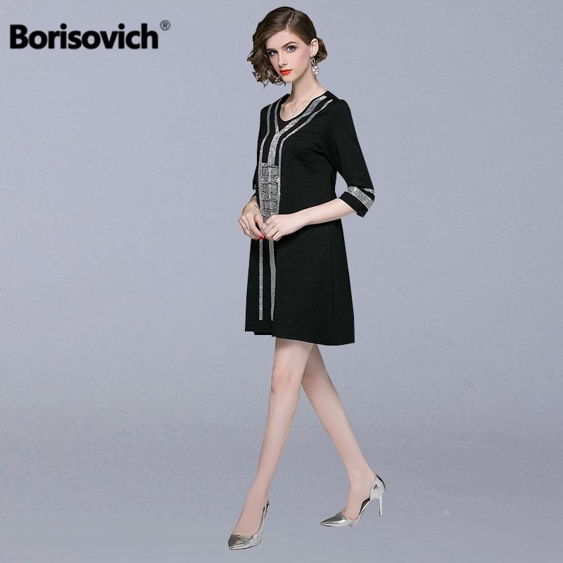 Borisovich Frauen Lose Beiläufige Kleid Neue Marke 2018 Herbst Mode Diamanten V ausschnitt Hohe Qualität Elegante Weibliche Kleider N132-in Kleider aus Damenbekleidung bei AliExpress - 11.11_Doppel-11Tag der Singles 1