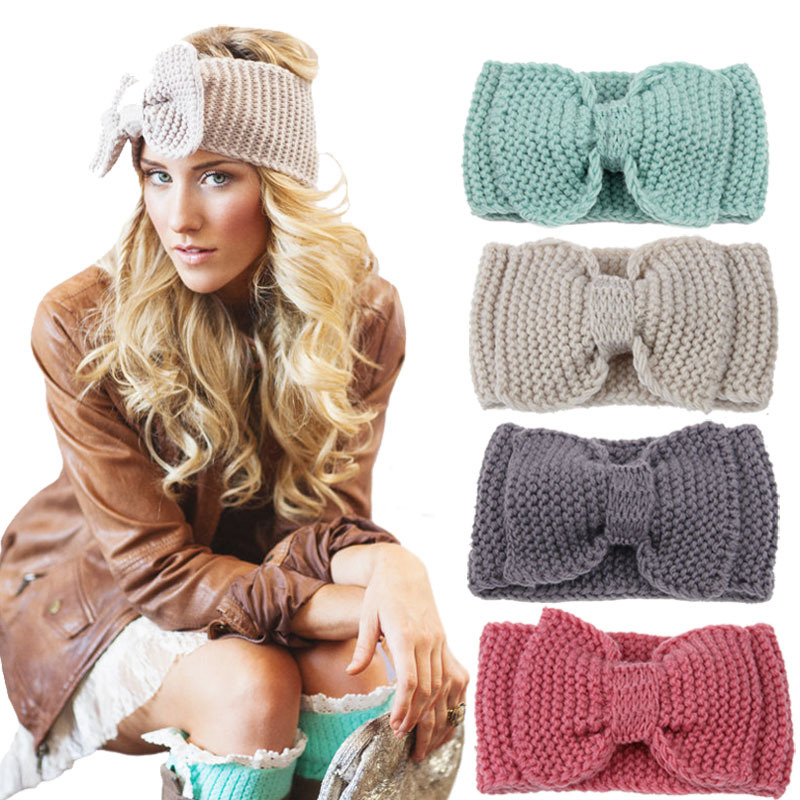 Detail Feedback Questions about Women Lady Fashion Crochet Big Bow Knot  Turban Knitted Head Wrap Hairband Winter Ear Warmer Headband Hair Band on  ... 53d81a1029f