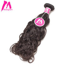 Maxglam Peruvian Virgin Hair Natural Wave Unprocessed Natural Color Human Hair Weave Bundles Free Shipping(China)