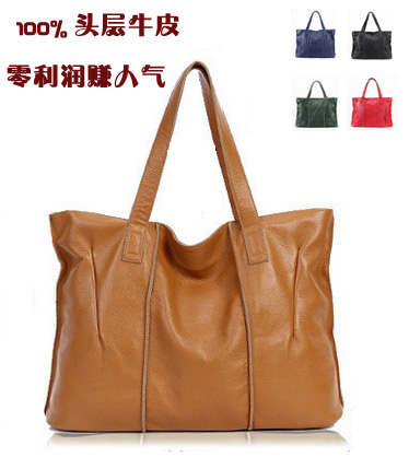 ФОТО Hot-selling first layer of cowhide genuine leather casual one shoulder female big bag fashion big bags shopping bag