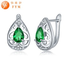 FYM Brand 7 Colors Green Water Drop CZ Hoop Earrings For Women Fashion Jewelry Earrings Female Brincos Sliver Plated Top Quality fym high quality 7 colors rhinestone cz zircon boho hoop earrings for women steampunk style party jewelry accessories