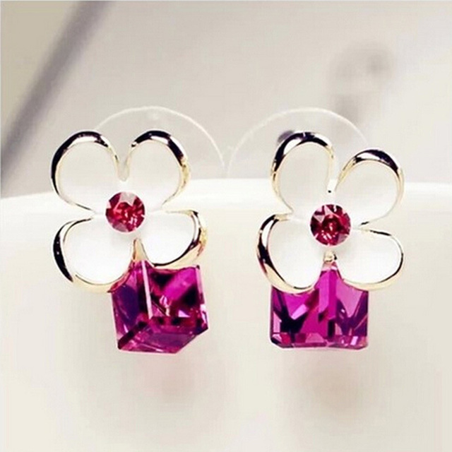 Rhinestone Blue White Flower Shaped Earrings Rose Red Crystal Gold Color Zircon Stone Stud