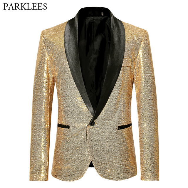 Mens Shiny Blazer Jacket Gold Sequin Glitter Suit Jacket Men Party Nigtclub Single Breasted Suit Blazer DJ Stage Singer Clothes