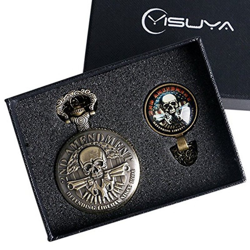 Steampunk Bronze 2nd Amendment US Defending Liberty Since 1791 Pocket Watches Quartz Analog Fob Chain Watches Creative Gift Set
