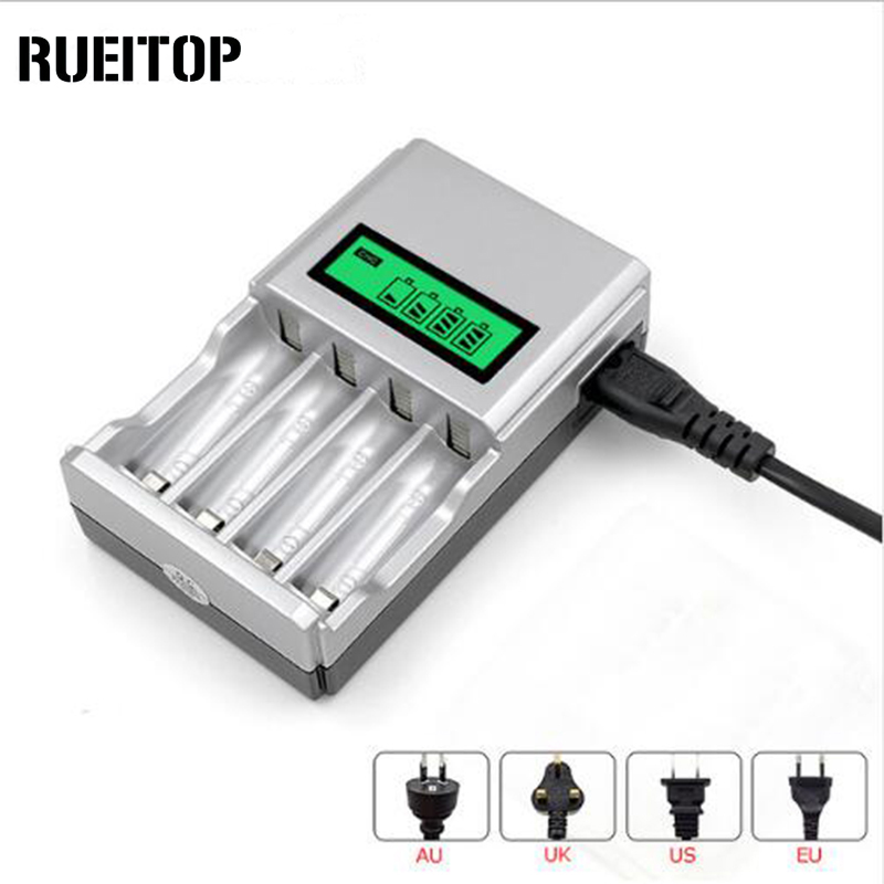 Original RUEITOP Smart Intelligent LCD Display Charger for NI-MH NI-CD AA AAA Rechargeable Batteries With EU US UK AU Plug 5 5 x 2cm lcd multifunctional intelligent digital 4 x aa aaa batteries charger black us plug