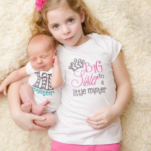 New Casual Kids Baby Girls Family Matching Print Little Brother Big Sister Matching Clothes Romper T-shirt Outfit