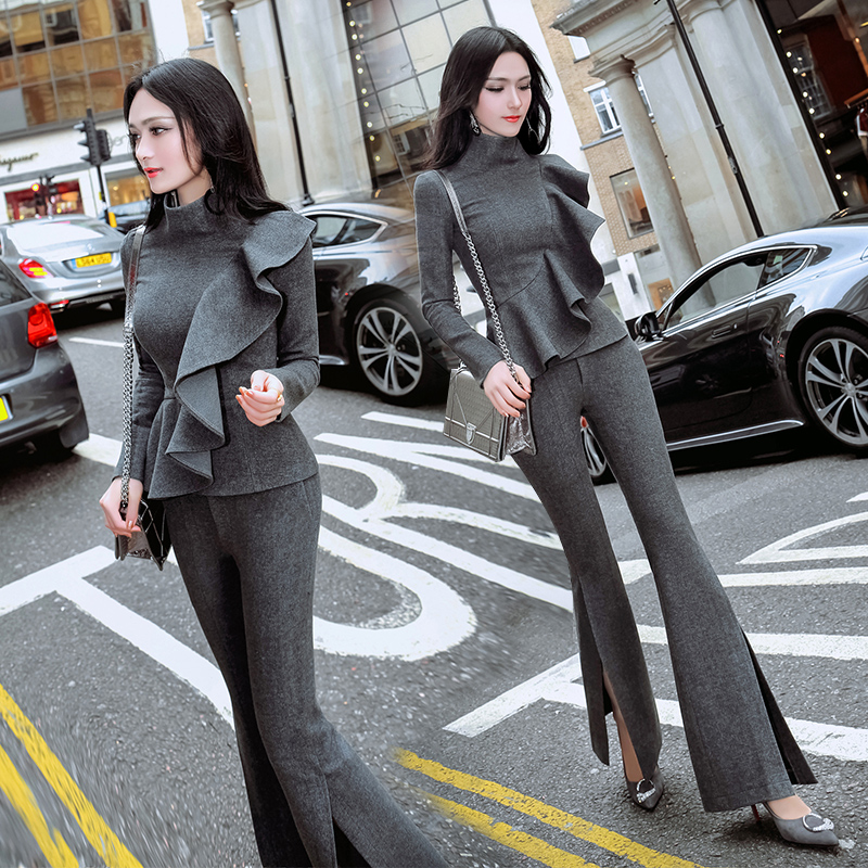 2018 Full Tracksuits Fashion Polyester Spring New Temperament Woman Set Lotus Leaf Coat + Open Wide Leg Pants Two Sets Of Women