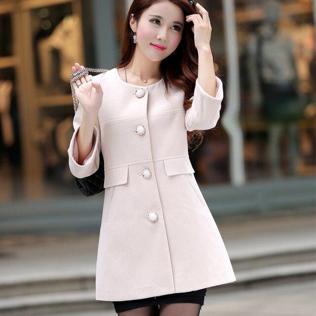 e4d68995b7700 2016 New Brand Autumn Winter Women Wool Coat Jacket O Neck Casacos Feminino  Wollen Outerwear Slim